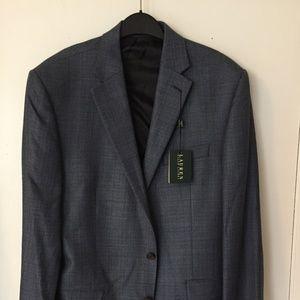 silk/wool sport coat suit jacket, gray- blue